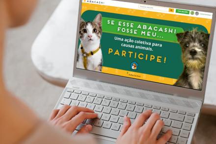 Computador mostrando a campanha Se esse abacashi fosse meu