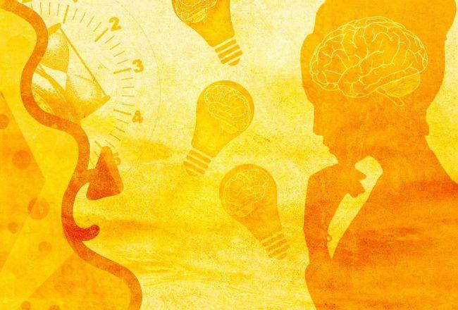 Imagem amarela, estilo pintura, com uma silhueta feminina com o cérebro em destaque, além de conter lâmpadas com cérebros, ampulheta e forma curva. Tudo isso para representar as estratégias para aumentar o desempenho da sua vaquinha virtual